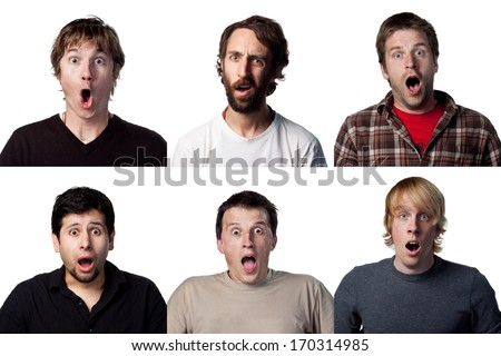 six different shocked faces - stock photo