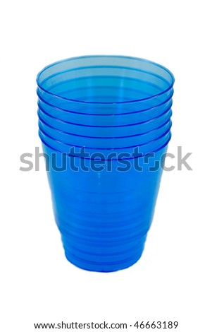 Six disposable blue glasses