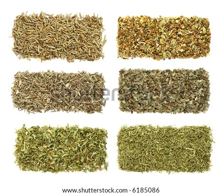 six dried spices herbs in rows - Rosemary, Oregano, Thyme, Basil, Parsley, Dill - stock photo