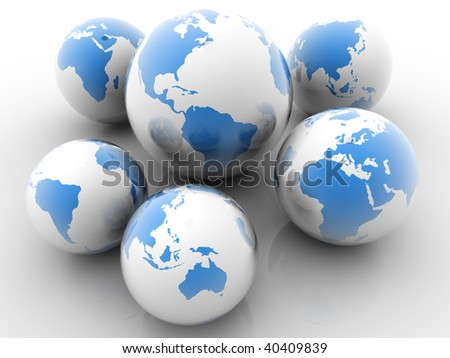 Six Earth globe showing all continents - 3d render