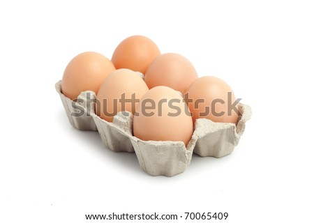 Six  eggs in a package to isolate the background - stock photo