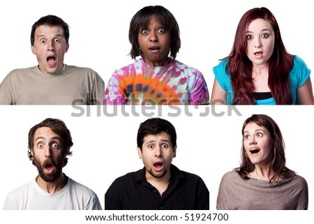 Six fantastic shocked expressions, all are full size images - stock photo
