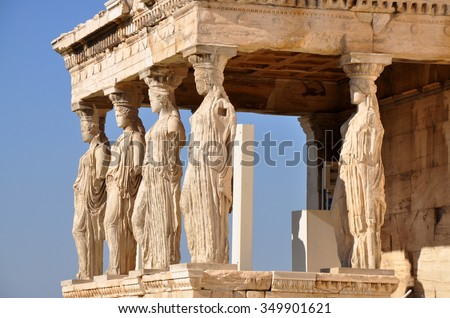 Six figures of the Caryatid Porch of the Erechtheion on the Acropolis at Athens. Sculpted females pillars karyatides. - stock photo