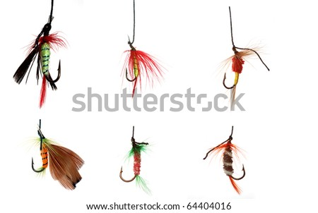 six fishhooks,selected  in a file 10 mp. - stock photo