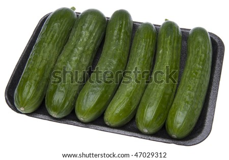 Six fresh cucumbers in grocery store packaging isolated on white with a clipping path.
