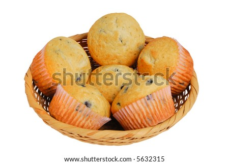 Six freshly baked blueberry muffins in basket, isolated on white with clipping path - stock photo