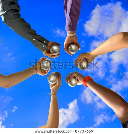 Six Friends Cheers with Beer Cans at Summer Party - stock photo