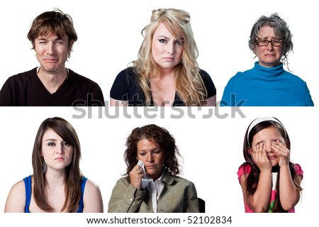 Six full size images of crying people - stock photo