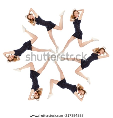 Six girls running in the shape of a star, isolated