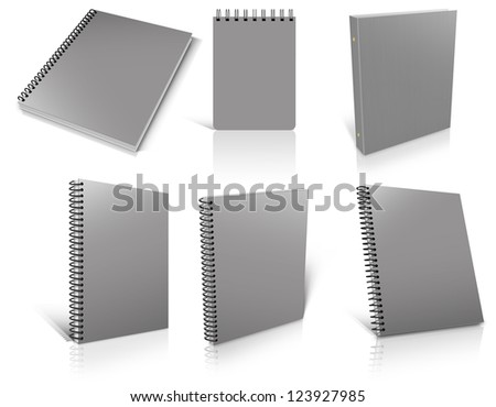 Six grey spiral blank notepad on white. Ready to be personalized by you. - stock photo
