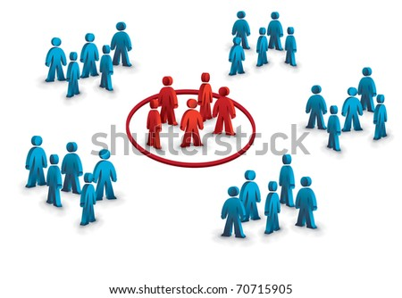 six groups of people, one different symbolizing the target group - stock photo