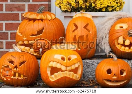six halloween pumpkins - stock photo