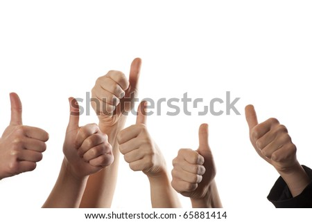 Six hands with their thumbs raised up. White background - stock photo
