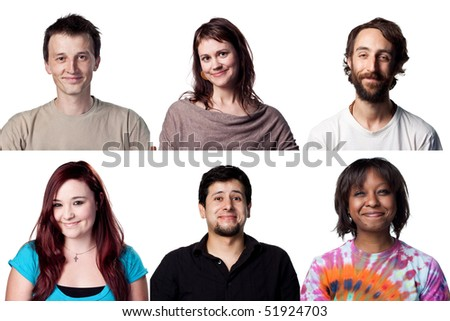 Six happy smiles from different actors, all full size - stock photo