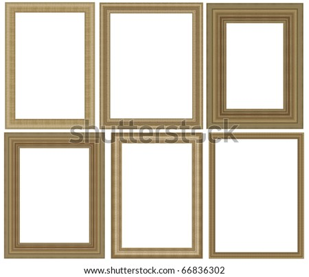 six high resolution gold classic simple wood frame - stock photo