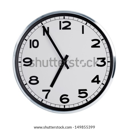 Six hours on the large round wall clock - stock photo