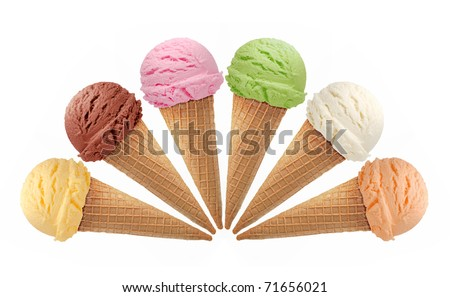 Six ice creams in cones on white background