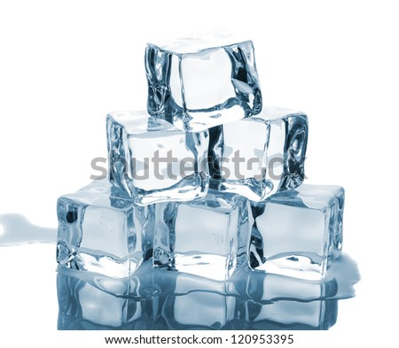 Six ice cubes with reflection isolated on white background - stock photo