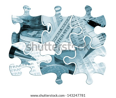 Six individual jigsaw piece shapes filled with financial images and toned blue. - stock photo