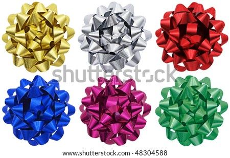 Six individual metallic gift bows isolated on a white background, each with its own clipping path. - stock photo