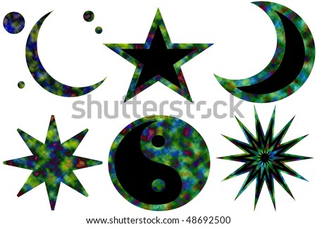 Six isolated tie-dyed symbols: moons, stars, yin yang - stock photo