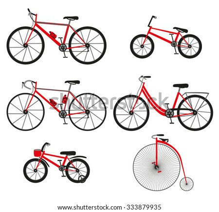 Six kinds of bicycles: mountain (or cross-country) bike, road bike, city bike, bmx bike, kids bike and penny farting bike (or retro, vintage). And some bike accessories. Color illustration. - stock photo