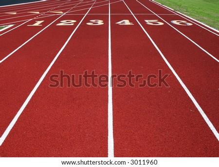 Six Lane Running Track - stock photo