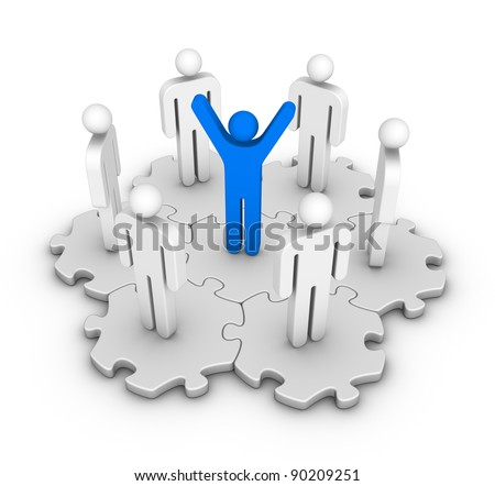 six men around leader - stock photo