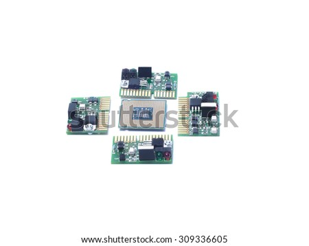 six mini chip boards and processor CPU isolated white - stock photo