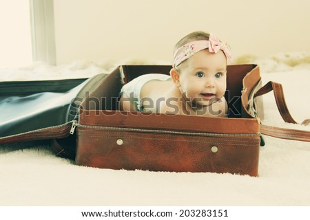 six month adorable baby - stock photo