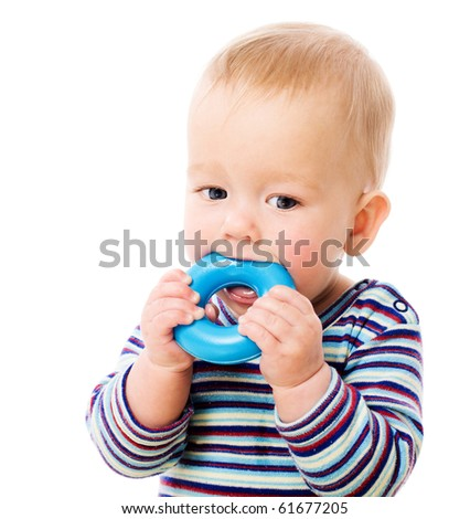 Six month Baby chewing toy isolated on white - stock photo