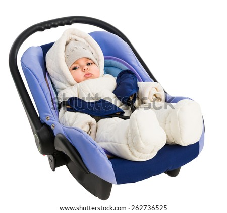 Six-month baby in a Car Seat, isolated on white - stock photo