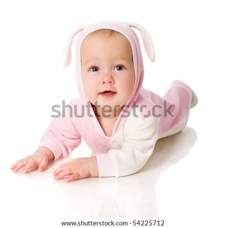 six month baby wearing bunny suit isolated on white - stock photo