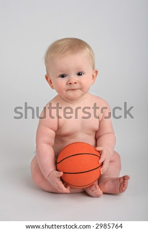 six month old with basketball - stock photo