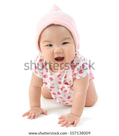 Six months old baby girl crawling over white background - stock photo