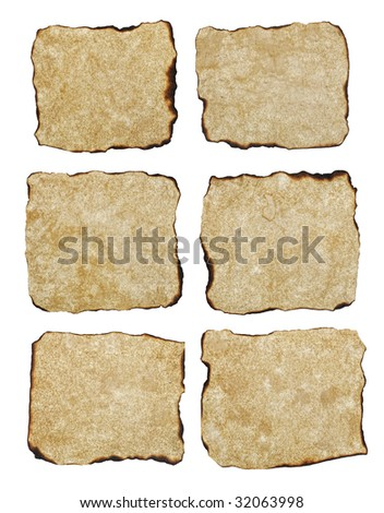 six naturally  burnt aged texture paper isolated on white background, ready for your text