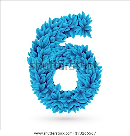 Six 6 number. Blue font element isolated on white. - stock photo