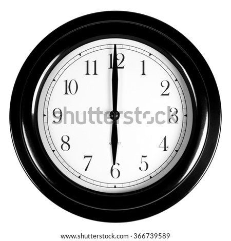 Six o'clock on the black wall clock, isolated on white background - stock photo