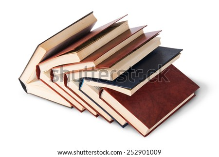 Six old books imbedded in one another top and front view isolated on white background - stock photo