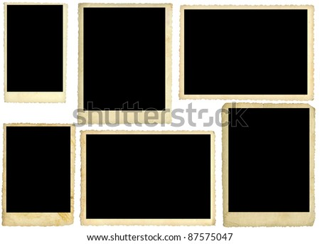 Six old photos, back side, isolated on white - stock photo