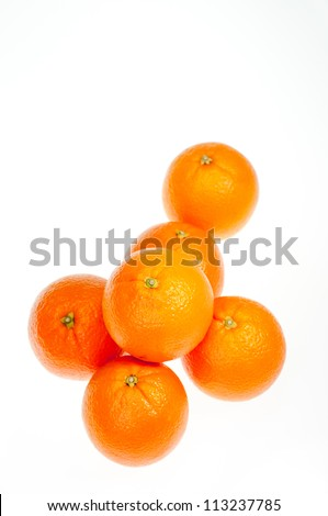 Six oranges vertical over white background - stock photo