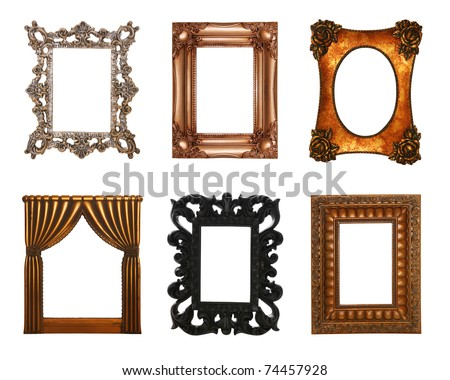 Six ornate,  antique, stylish picture frames isolated over white - stock photo