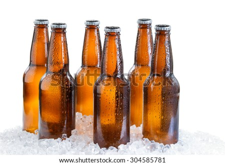 Six pack of bottled beer with drops and ice isolated on white background