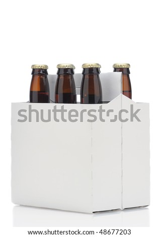 Six pack of Brown beer bottles in blank carrier at a 45 degree angle isolated over a white background