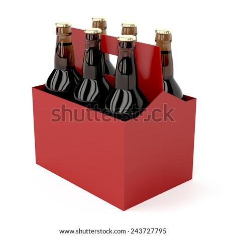 Six pack of dark beer bottles on white background - stock photo