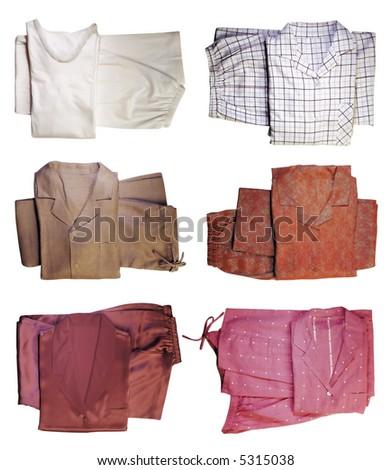 Six pairs of pajamas - stock photo