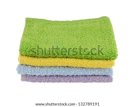 Six pastel face cloths - stock photo