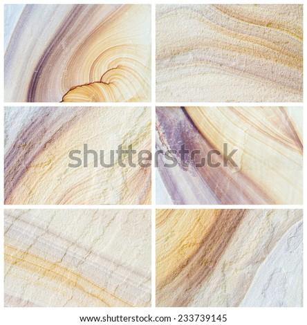 six patterned sandstone texture background (natural color). - stock photo