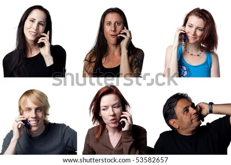 Six people chatting on a cell phone, isolated image - stock photo
