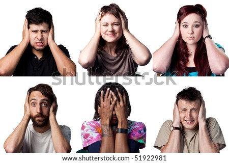 Six people cover their ears or heads, all full size images - stock photo